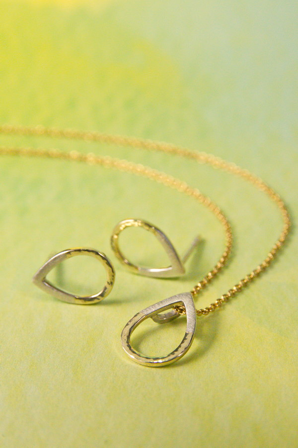 Set Tropfen - Silber und Gold  gehämmert